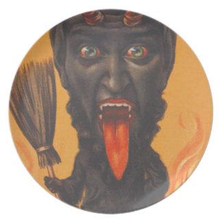 Fuego del infierno de la escoba de Krampus Plato De Comida