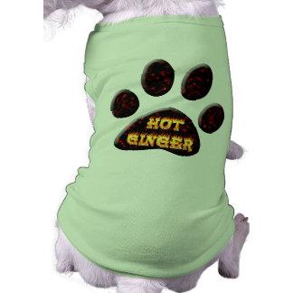 Fuego del jengibre y camisa calientes del perro de playera sin mangas para perro