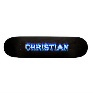 Fuego del monopatín cristiano y diseño azules de l