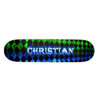 """Fuego del monopatín cristiano y diseño azules de l patineta 8 1/8"""""""
