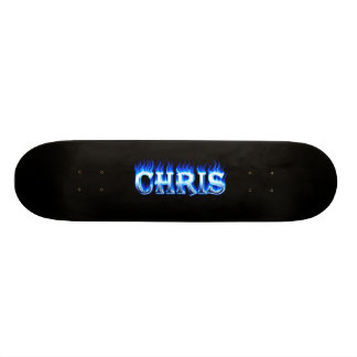 Fuego del monopatín de Chris y diseño azules de la