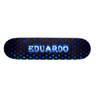 """Fuego del monopatín de Eduardo y diseño azules de  Patineta 8 1/8"""""""