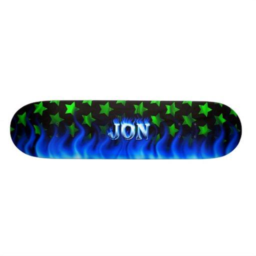 """Fuego del monopatín de Jon y diseño azules de las  Patineta 7 3/8"""""""