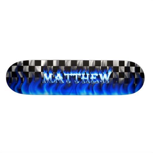 Fuego del monopatín de Matthew y diseño azules de  Tablas De Patinar