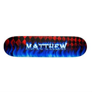Fuego del monopatín de Matthew y diseño azules de  Tablas De Skate