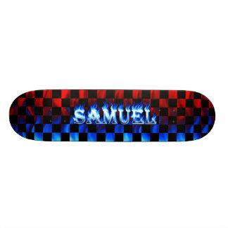 Fuego del monopatín de Samuel y diseño azules de l Patin Personalizado