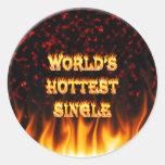 Fuego del mundo el solos y rojo más calientes de pegatinas redondas