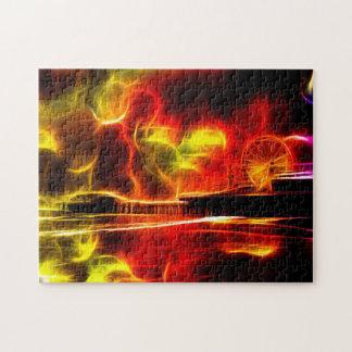Fuego del neón del embarcadero de Santa Mónica Puzzles Con Fotos