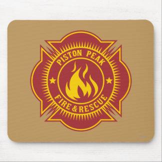 Fuego del pistón y insignia máximos del rescate mouse pad