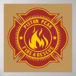 Fuego del pistón y insignia máximos del rescate posters