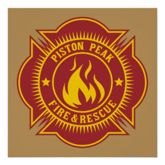 Fuego del pistón y insignia máximos del rescate póster