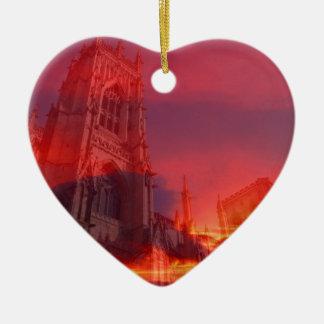 Fuego del púlpito adorno de cerámica en forma de corazón