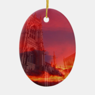 Fuego del púlpito adorno ovalado de cerámica