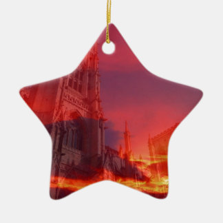 Fuego del púlpito adorno de cerámica en forma de estrella