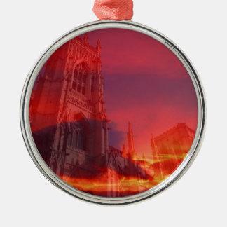 Fuego del púlpito adorno redondo plateado