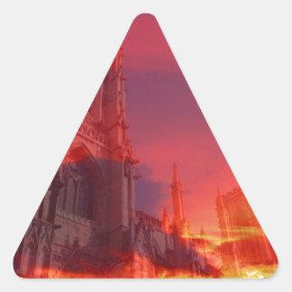 Fuego del púlpito pegatina de triangulo personalizadas