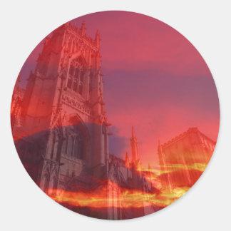 Fuego del púlpito pegatina redonda