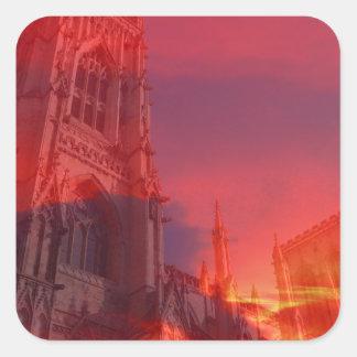 Fuego del púlpito pegatina cuadrada