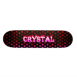 Fuego del rosa del monopatín y diseño cristalinos  skate board