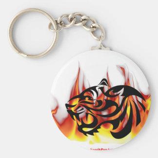 Fuego del tigre llavero redondo tipo pin