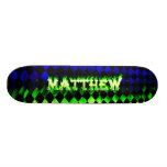 Fuego del verde del monopatín de Matthew y diseño  Skateboards