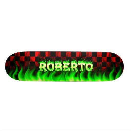 Fuego del verde del monopatín de Roberto y diseño