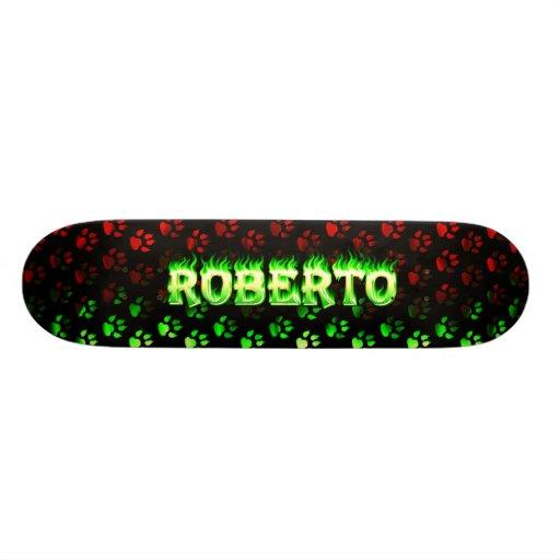 Fuego del verde del monopatín de Roberto y diseño  Tabla De Skate