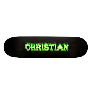 Fuego del verde del monopatín y diseño cristianos