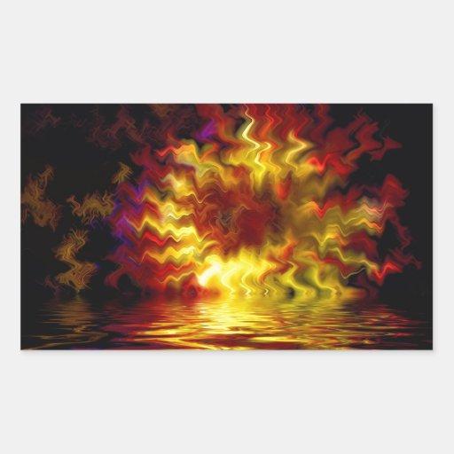 Fuego digital abstracto pegatina rectangular