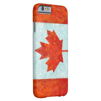 Fuego e hielo canadienses de la bandera funda de iPhone 6 barely there