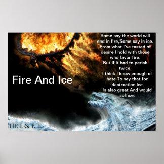 Fuego e hielo con el poster de los dragones del hi
