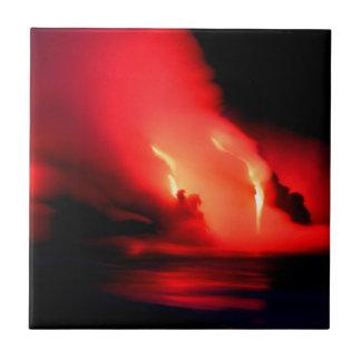 Fuego e hielo Kona Hawaii del volcán Azulejo Cuadrado Pequeño