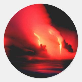 Fuego e hielo Kona Hawaii del volcán Pegatina Redonda