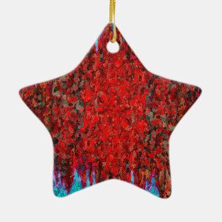 Fuego e hielo rojos y azules adorno navideño de cerámica en forma de estrella