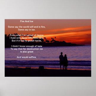 Fuego e hielo sobre el poster ardiente de la playa