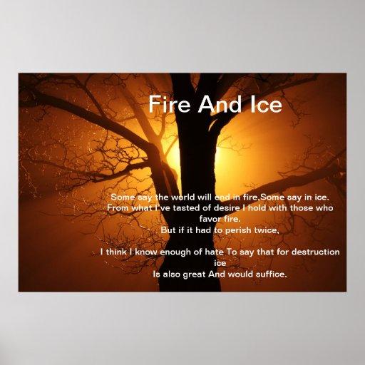 Fuego e hielo sobre el poster ardiente del árbol