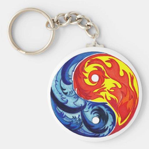 Fuego e hielo Yin-Yang Llavero