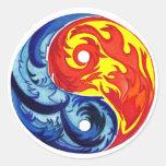 Fuego e hielo Yin-Yang Pegatina Redonda