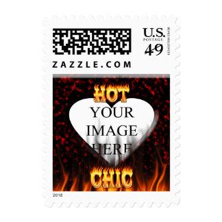 Fuego elegante caliente y corazón de mármol rojo sellos