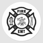 Fuego EMT Etiqueta Redonda