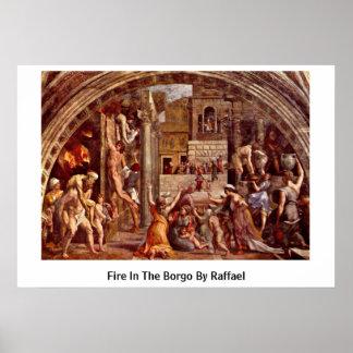 Fuego en el Borgo de Raffael Póster