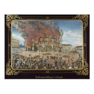 Fuego en el teatro real en Dresden Postal