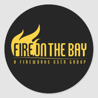 ¡Fuego en la bahía - pegatinas! Pegatina Redonda