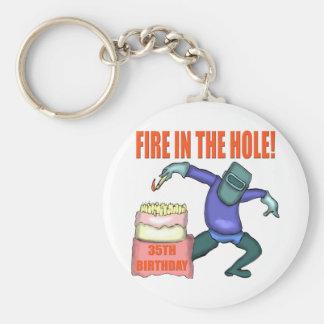 Fuego en los 35tos regalos de cumpleaños del aguje llaveros personalizados