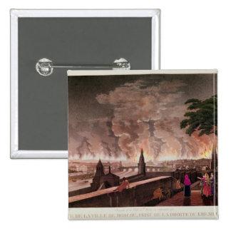 Fuego en Moscú, septiembre de 1812. grabado cerca Pin Cuadrada 5 Cm