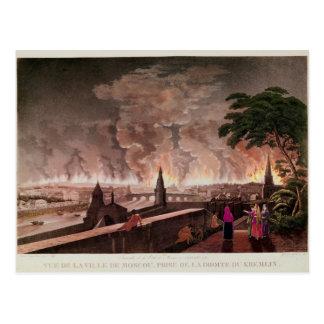 Fuego en Moscú, septiembre de 1812. grabado cerca Postal