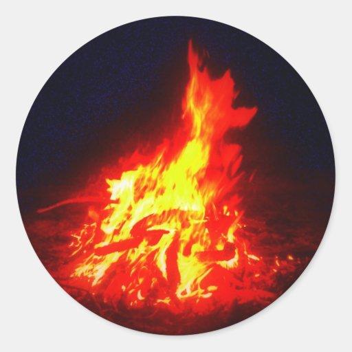 Fuego Etiquetas Redondas