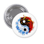 Fuego fresco Yin Yang del agua del símbolo del tat Pin Redondo 2,5 Cm