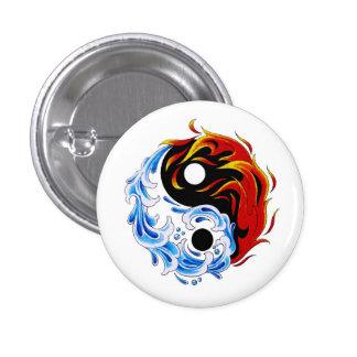 Fuego fresco Yin Yang del agua del símbolo del tat Pin Redondo De 1 Pulgada