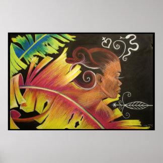 Fuego - impresión del arte negro poster